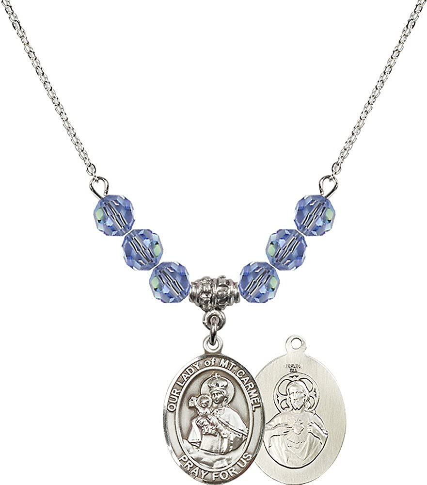 18-Inch Rhodium Plated Necklace with 6mm Light Sapphire Birthstone Beads and Sterling Silver Our Lady of Mount Carmel Charm.