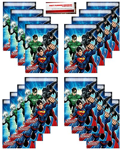 Justice League 16 Pack Party Plastic Loot Treat Candy Favor Bags (Plus Party Planning Checklist by Mikes Super (League Check)
