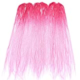 Silike 24'' Thin Senegalese Twist Crochet Braids (30Roots/Piece,3 Pieces) Ombre Long Havana Mambo Braiding Hair Micro Crochet Hair Extension (Red/Pink)