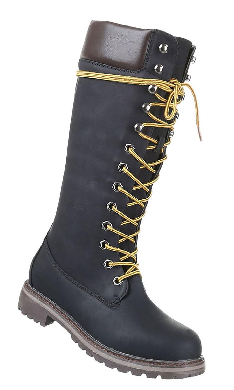 Damen Schuhe Optik Stiefel Used Optik Schuhe Schnür Stiefel Schwarz cb0893