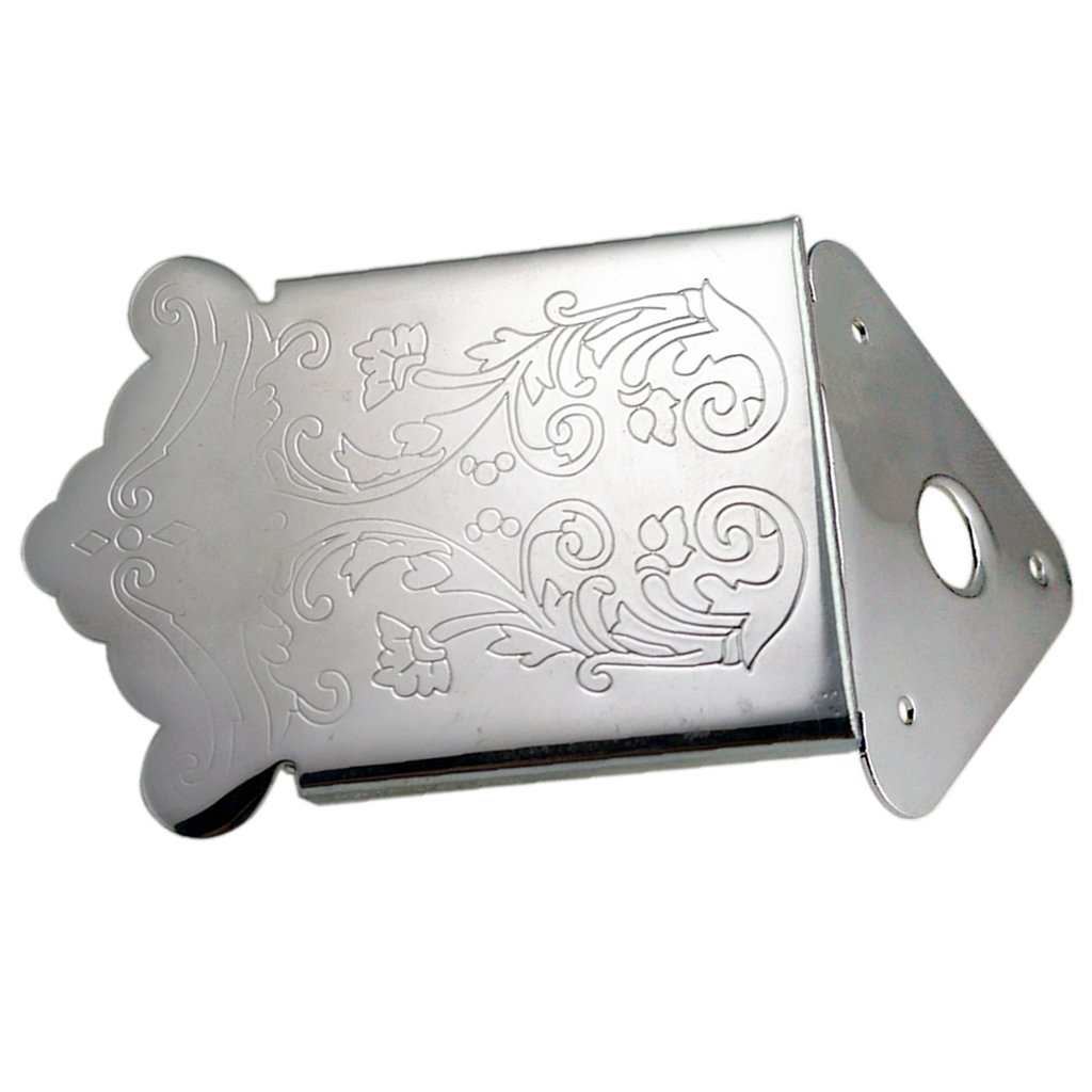 Dovewill 1Pc Tailpiece Bridge Tail Flower Pattern Engraved for Musical Instrument Set - Silver