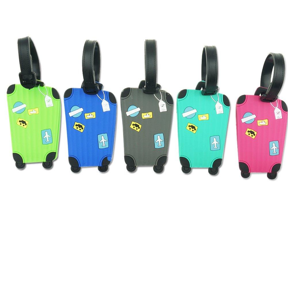 Brappo 5 stücke Bunte Gepäckanhänger ID Koffer Etiketten Adresse Halter Silikon Identifikator Label Reise Zubehör (Farbe 1)