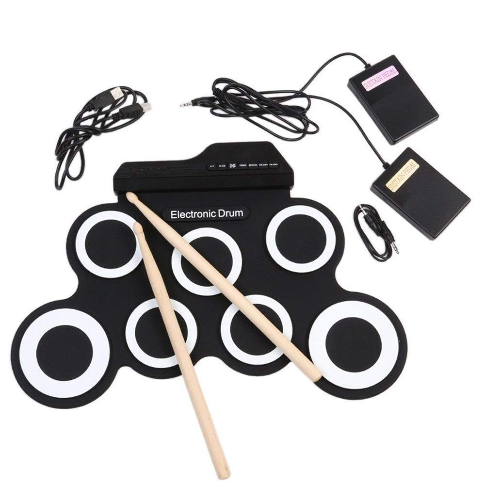 Waterproof Portable Electronic Roll Up Drum Set With 7 Silicon Pads Practice Drum Kit Headphone Jack Built-in Speaker Sustain Pedals Drum Sticks Recording Playback Functions Gift For Kids for Kids Chi by Techecho