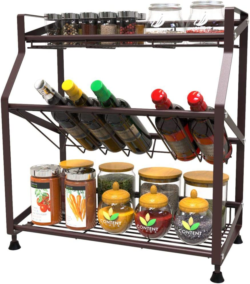 Spice Rack, Veckle 3 Tier Kitchen Spice Rack Organizer Bathroom Kitchen Countertop Storage Shelf for Pantry Desktop Multipurpose Standing Rack