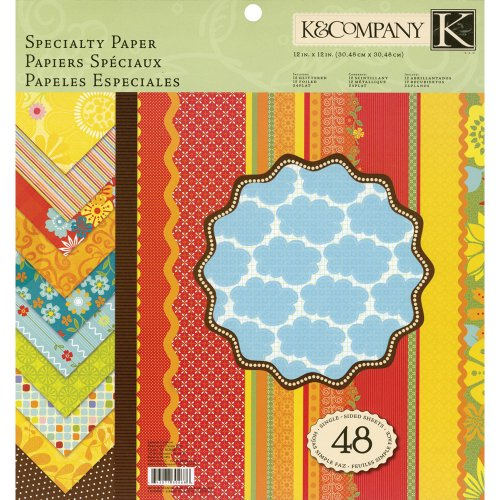 K&Company 12-Inch by 12-Inch Specialty Paper Pad, Lemon Citron, - Paper Inch Company 12 & K