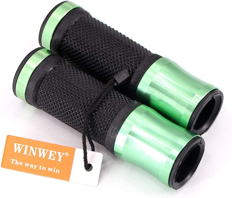 Green Handle Bar Non-Slip Rubber For Motorcycle Scooter Cruiser Urban Bike Tricycle Wheel Chair MTB BMX Fordable 1 Set winwey 22mm 7//8 Bike Handlebar Grips Bar End Left /& Right