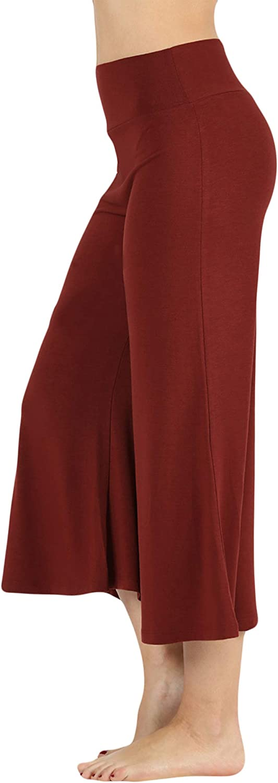 The Lovely Womens Knit Capri Culottes Gaucho Wide Leg Pants