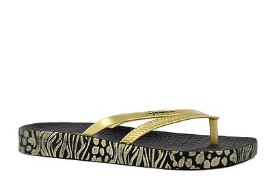 25612e034460 Ipanema Womens Flip Flops Black Gold Bossa Soft II Fem 82282 Made in Brazil  -