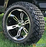 14'' RUCKUS Machined/ Black Golf Cart Wheels and 23x10-14'' DOT All Terrain Golf Cart Tires Combo - Set of 4