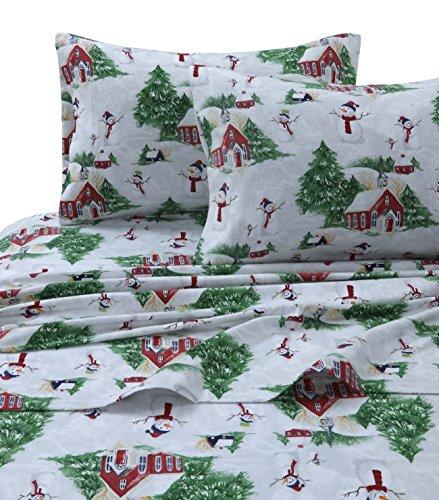 Tribeca Living SNMANSHEETQURG Snowman Printed Flannel Deep Pocket Sheet Set, Queen, Red/Green (Cotton Christmas Sheets)