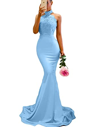 SDRESS Womens Lace Appliques Illusion Long Mermaid Skirt Bridesmaid Prom Dress Blue Size 2