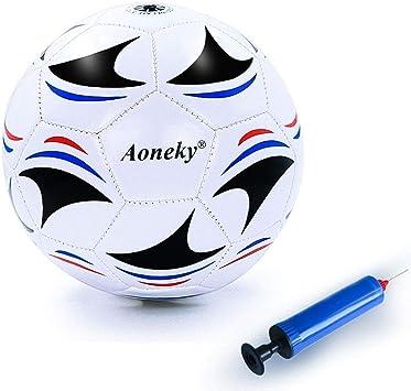 Aoneky Balón de Fútbol con Bomba de Aguja para Niños - Talla 3 ...