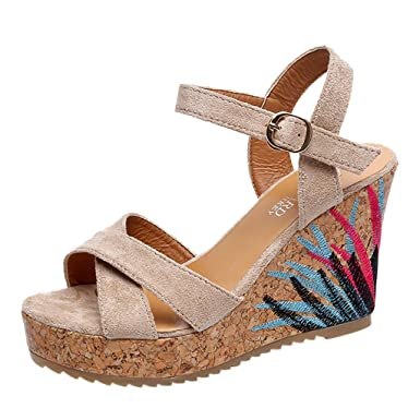 a1b720d1bff Amazon.com  JJLIKER Women Suede Embroidery Cirsscross Chunky Platform Wedges  Sandals Ankle Buckle Strap Peep Toe Shoes Espadrille  Clothing