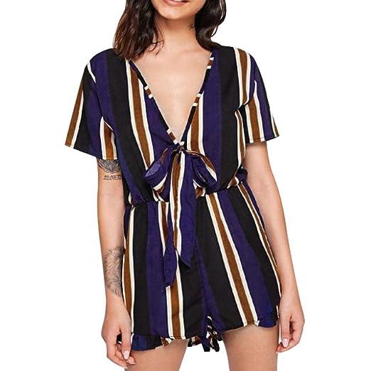 6e1104d7580e Longay Women Short Sleeves V Neck Tanks Tops Stripes Romper Jumpsuit Mini  Short Dress (S