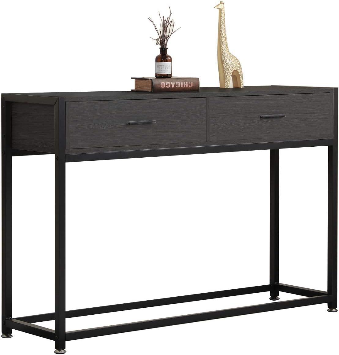 Noir Costway Table de Console,Table d/'Entr/ée,Table d/'Appoint Vintage en Bois+M/étal avec 2 Couches de Rangement,4 Pieds R/églables Anti-Rayures pour l/'Entr/ée,Salon,Couloir 102 x 35 x 80CM