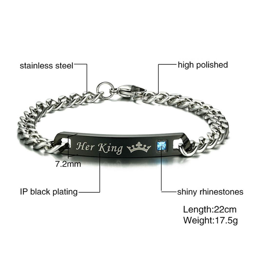 FOXI YOUTH 2 PCS Her King His Queen Lovers Stainless Steel Link Chain Identification Tag Couple Bracelet