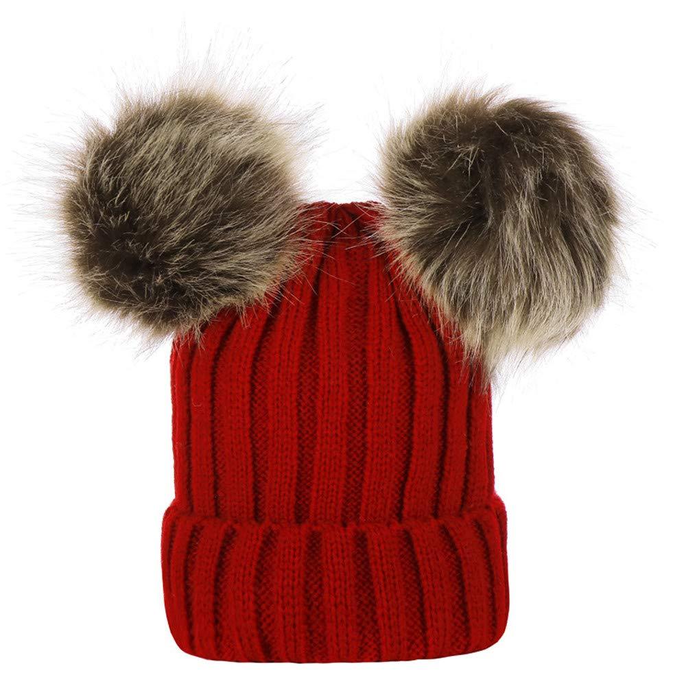Kingko ® Baby Hat, 1PC Toddler Newborn Cute Winter Kids Baby Girl Boy Fur Pom Pom Hats Knitted Hemming Cap Beanie Hat