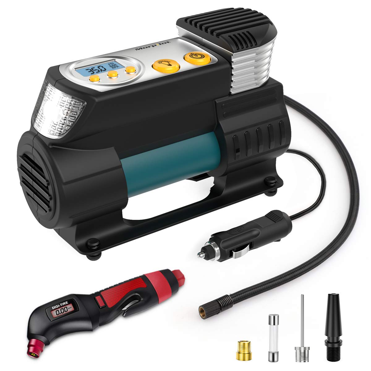 Keenstone Portable Tire Inflator, DC 12V Air Compressor Pump, Digital Tire Pump with Gauge, LED Flashlight, 4 Nozzle Adaptors, and Extra Fuse