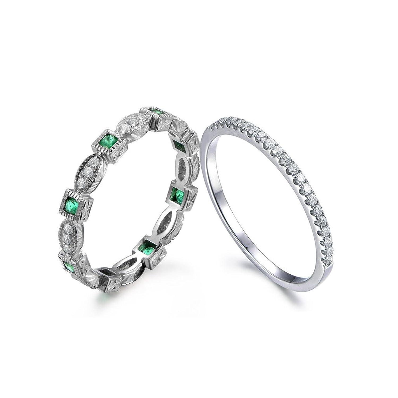 Amazon Natural Green Emerald Diamond Eternity Vintage Antique