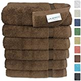 "Turkish Luxury Hotel & Spa 16""x30"" Hand Towel Set of 6 Turkish Cotton - Organic Eco-Friendly (Hand Towels, Chocolate)"