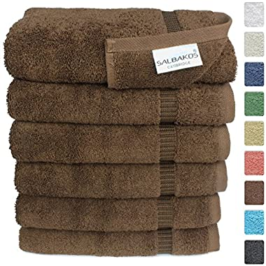 Turkish Luxury Hotel & Spa 16 x30  Hand Towel Set of 6 - 100% Genuine Turkish Cotton - Organic Eco-Friendly (Hand Towels, Chocolate)