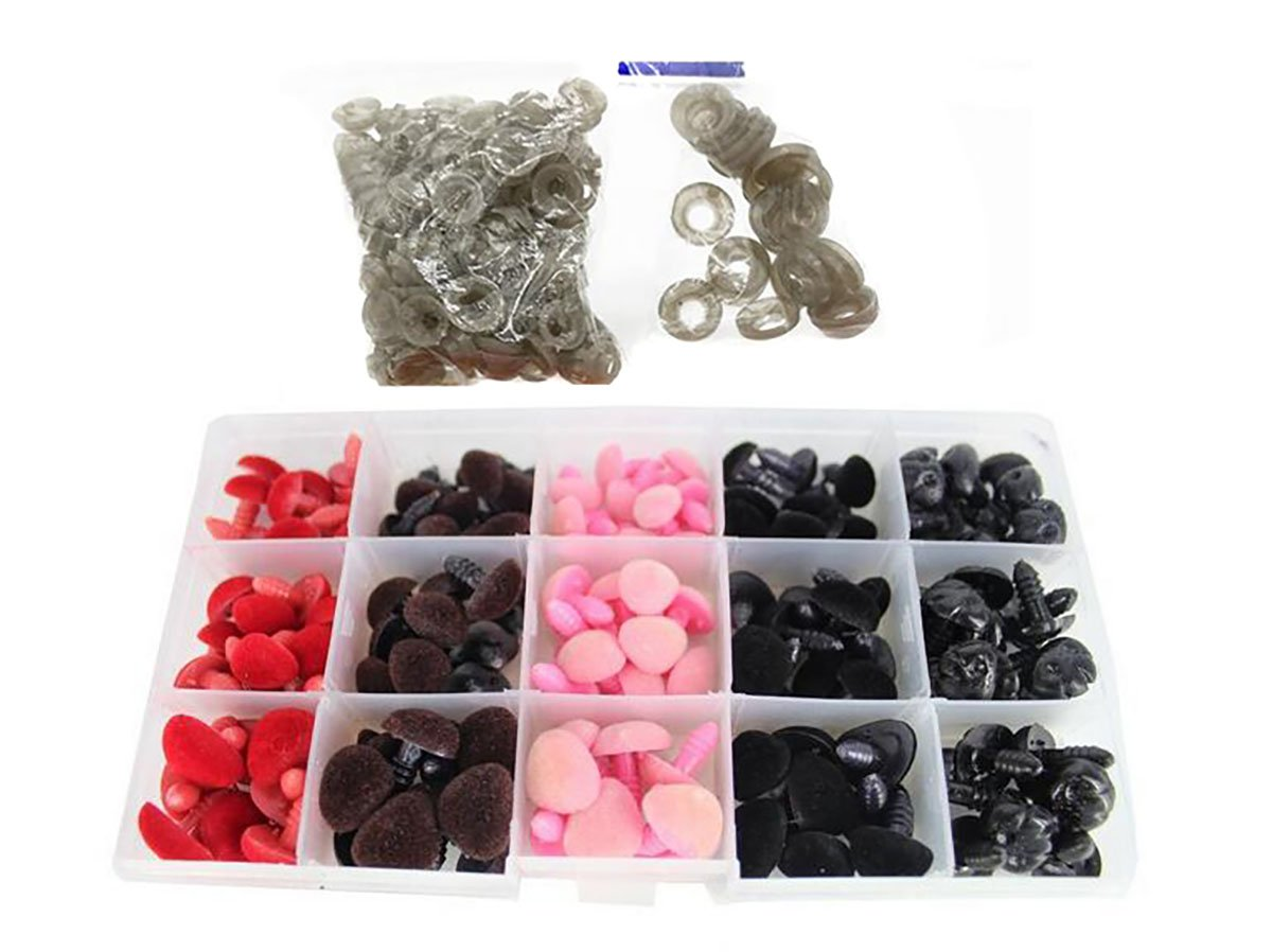 140PCS Triangle 4 Sizes 11-16mm Plastic Flocking Safety Noses Eyes with Washers for Bear Doll Animal Puppet Crafts DIY Sewing Crafting Buttons Flyott