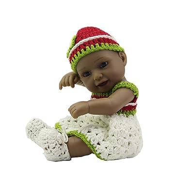 Moda suave realista negro mini crianza bebé niña muñeca 11 pulgadas princesa silicona vinilo recién nacidos