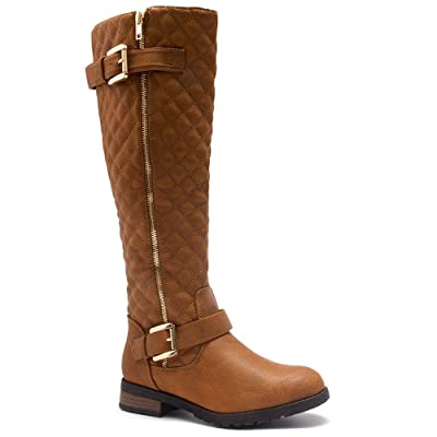 Shoe Land SL-LORREENN-HI Women's Quilted Round Toe Combat Knee High Riding Boots: Shoes