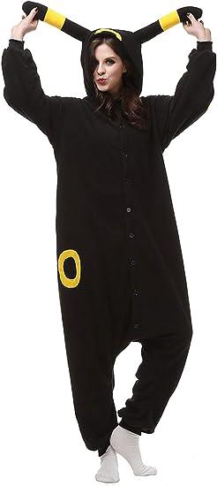 Pijama negro de Halloween Engerla, pijama enterizo de animal, cosplay para adulto negro Umbreon X-Large