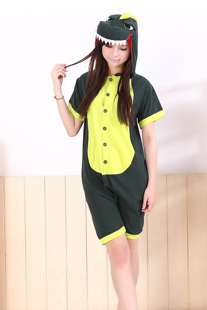 860f23131a Amazon.com   Cute Animal Onesie Pajamas Adult Cotton Coveralls Green  Dinosaur Cosplay Costumes Summer Short Sleeve (L(For Height 168-178cm))    Beauty ...