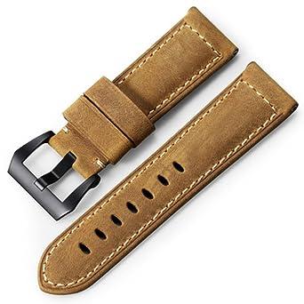 emballage fort mode la plus désirable bébé iStrap Bracelet de Montre 22mm 24mm 26mm Cuir Vintage Montre Militaire  Bracelet de Remplacement pour PANERAI LUMINOR 44 Hommes - Marron