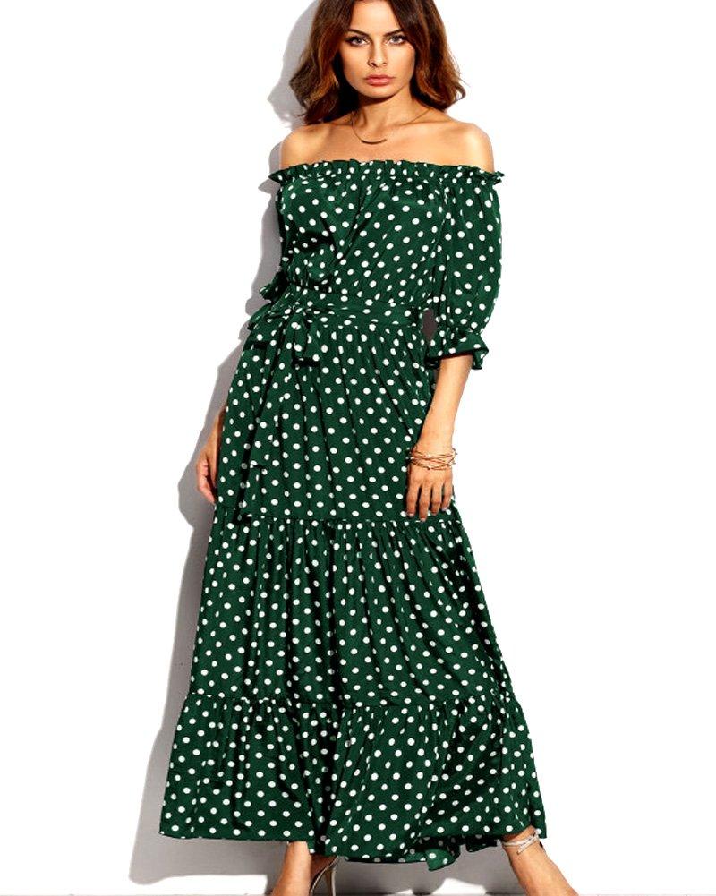 Roiii Women's Casual Strap Tube Polka Dot 3/4 Sleeve Summer Boho Maxi Dress