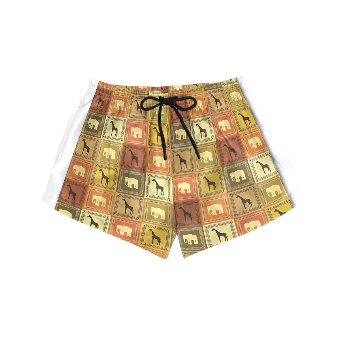 YOLOLIS Women Summer Boardshorts Quick Dry Swimwear Workout Shorts Printed Savanna Animal Frames M