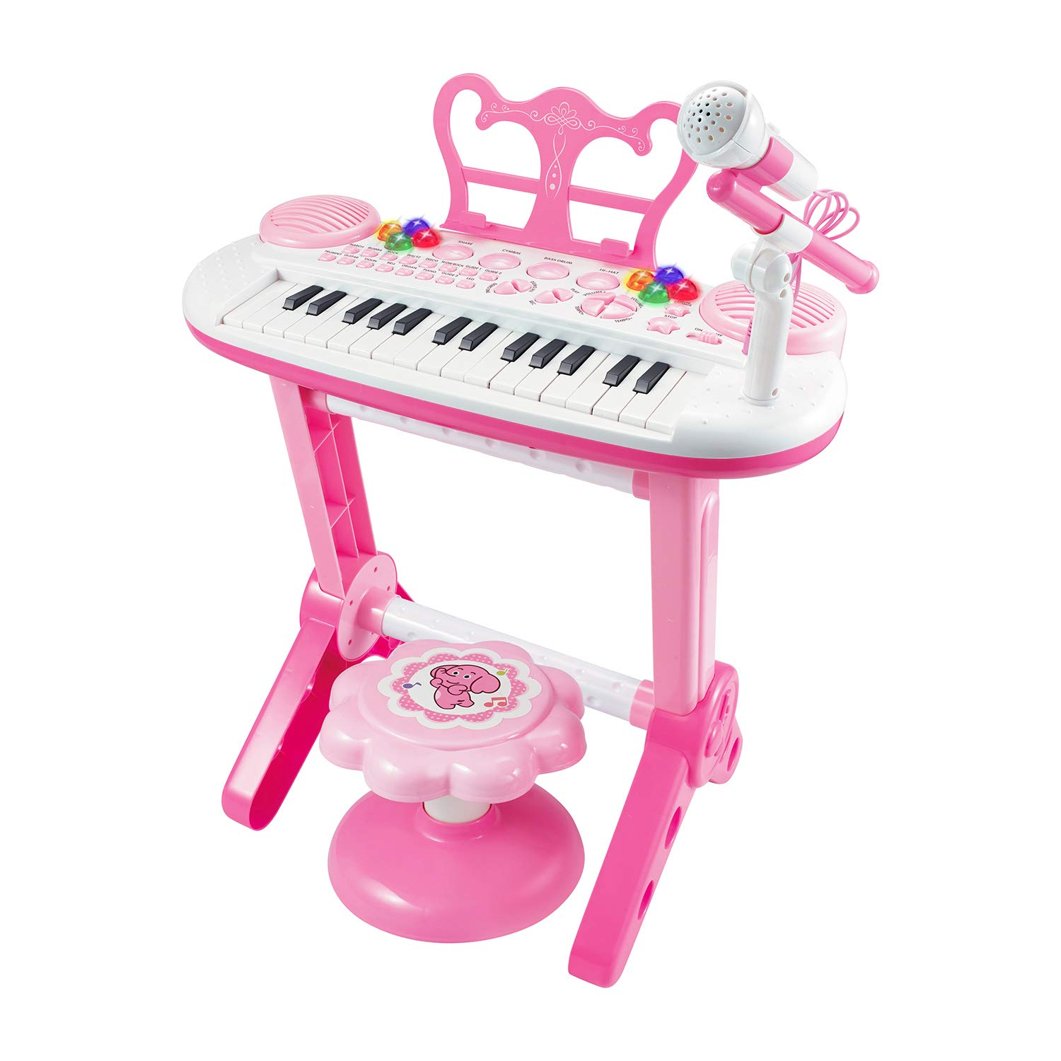 TWFRIC Toy Piano Keyboard for Kids with Microphone, 31-Key Electronic Musical Instrument Piano Toy Keyboard with Music Stand and Stool for Kids Birthday Christmas Day Gifts by TWFRIC