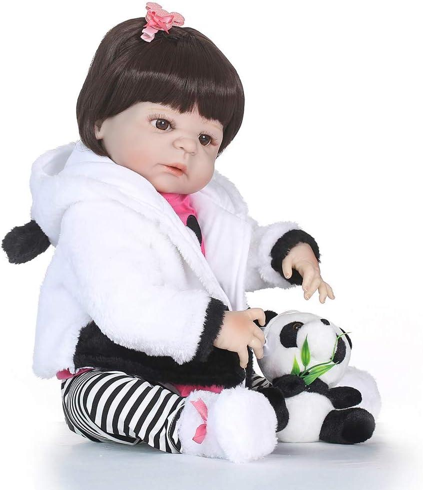 CAheadY 55 cm Reborn Puppe Simulation Baby Mädchen Vinyl Silikon Begleiten Schlaf Spielzeug White White