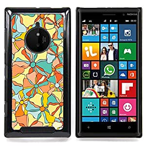 Fabric Texture Floral Flowers Caja protectora de pl??stico duro Dise?¡Àado King Case For Nokia Lumia 830