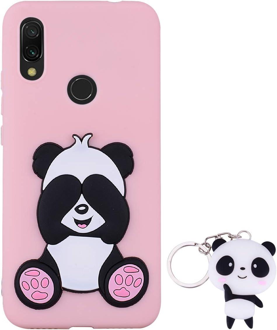 HopMore Compatible con Funda Xiaomi Redmi 7 Silicona con Diseño 3D Divertidas Carcasa Xiaomi Redmi 7 TPU Resistente Blando Case Antigolpes Caso Protección Cover Dibujos Animados Gracioso - Panda Rosa