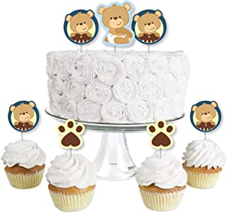 product image for Baby Boy Teddy Bear - Dessert Cupcake Toppers - Baby Shower Clear Treat Picks - Set of 24