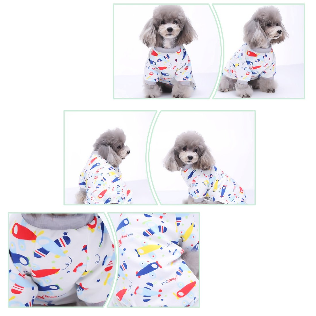 Scheppend Puppy Dog Pajamas Cozy Soft Jumpsuits Pet Sleeping Suit Clothes for Small Medium 2-Pack