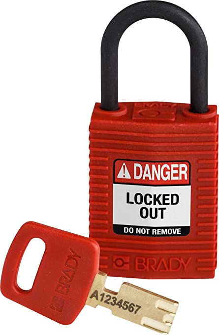 "Brady Nylon Padlocks 1-1//2/"" Steel Shackle Blue Lockout-Tagout NEW"