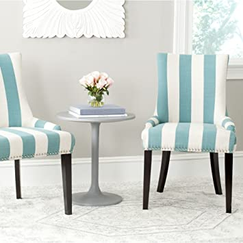 High Quality Safavieh Mercer Collection Lester Dining Chair, Aqua Blue And White Stripe,  Set Of 2