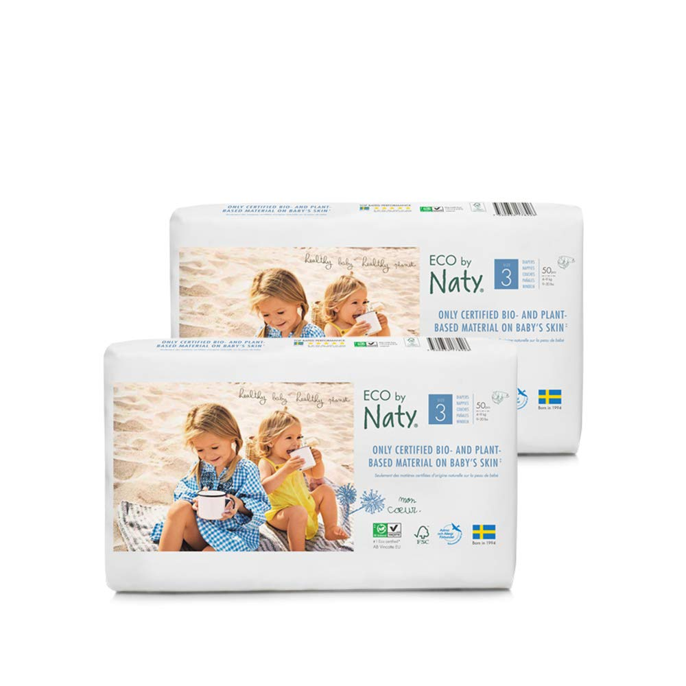 Couche /écologique fabriqu/ée /à partir de fibres v/ég/étales au contact de la peau de b/éb/é. issu du p/étrole 16+kg 102 couches Eco by Naty 0/% de plastique Soit UN MOIS dutilisation Taille 6