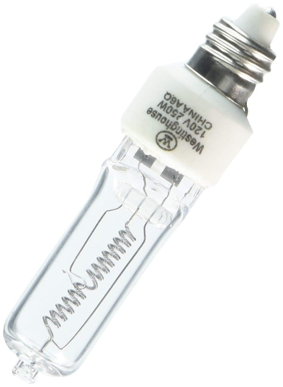 Westinghouse 0446900 250W T4 E11 Mini Can Base Clear 1300Hr 4000LM 120V Halogen Light Bulb