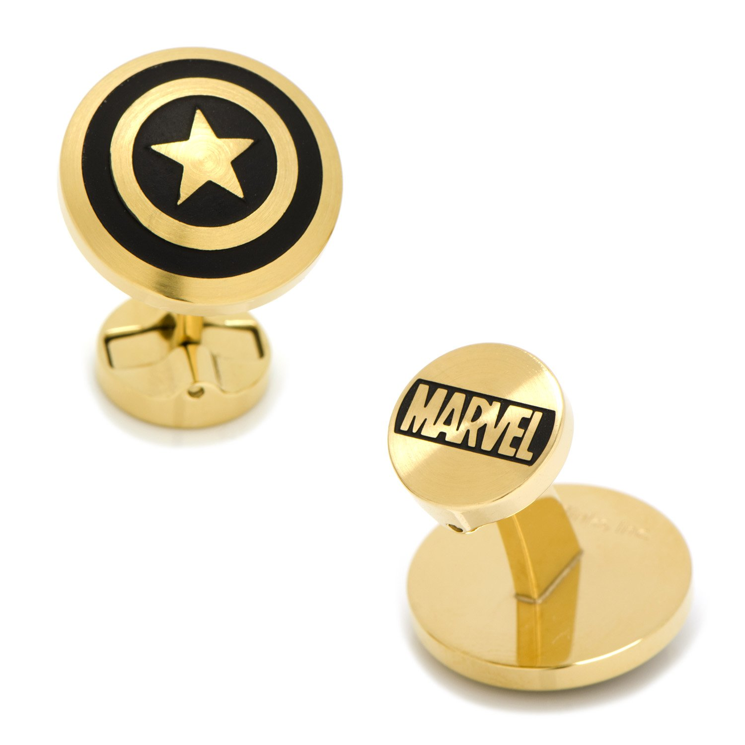 Cufflinks Marvel Stainless Steel Black and Gold Captain America, Officially Licensed