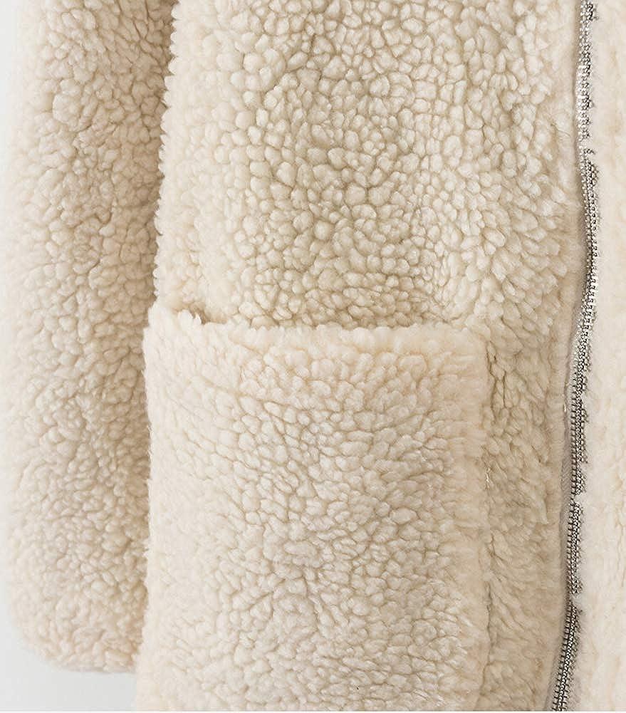 Hotmiss Womens Coat Fleece Fuzzy Faux Shearling Zipper Winter Jackets with Pockets Outerwear