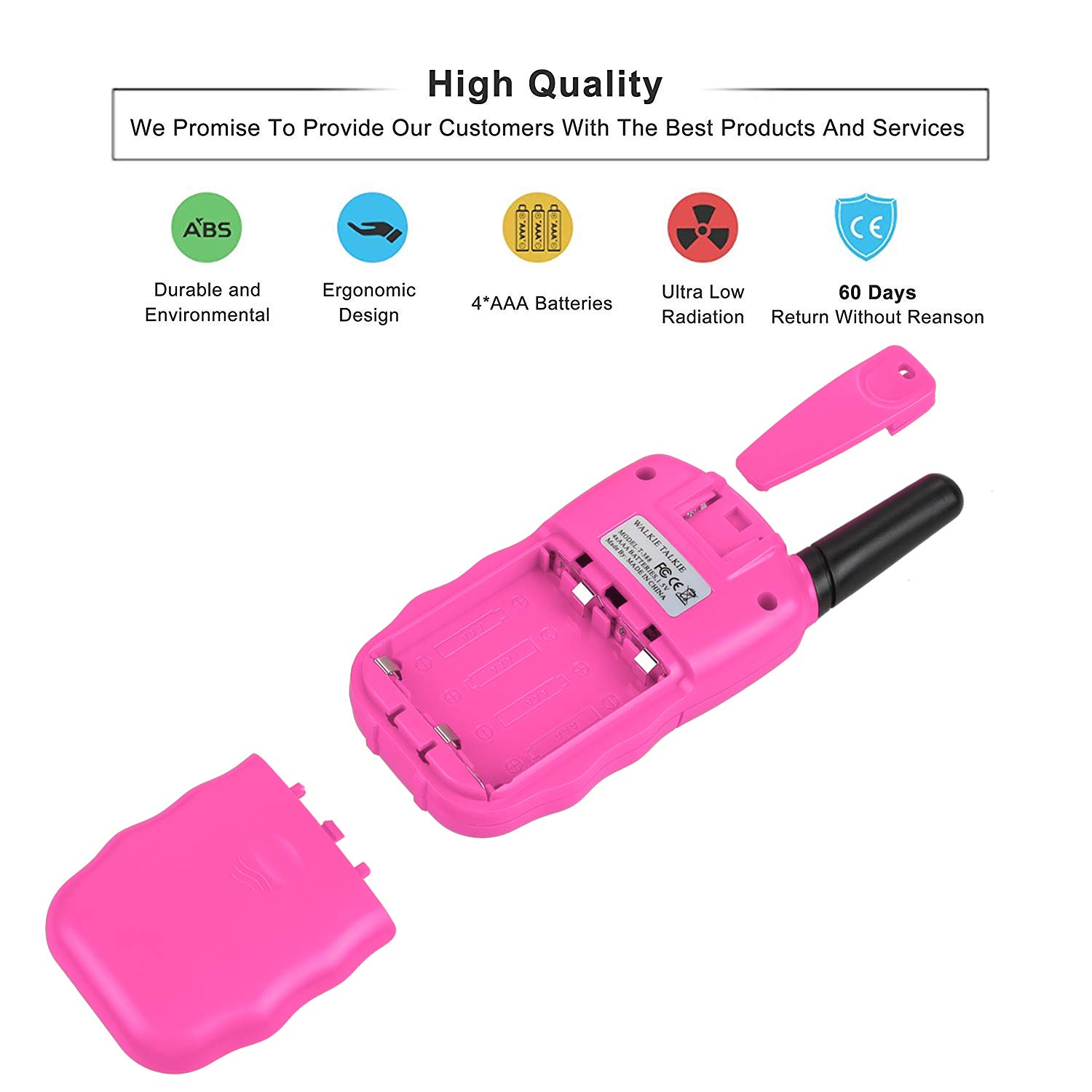 Anpro walkie talkies and Telescope Sets for Kids, 22 Channel 2 Way Radio 3 Mile Long Range Handheld Kids Walkie Talkies, Best Gifts & Top Toys for Boy & Girls for Outdoor Adventure Game(Pink) by Anpro (Image #4)