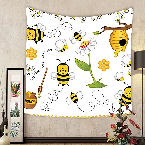 Gzhihine Custom tapestry Collage Decor Tapestry Flying Bees Daisy Honey Chamomile Flowers Pollen Spring Themed Animal Print for Bedroom Living Room Dorm Yellow White by Gzhihine