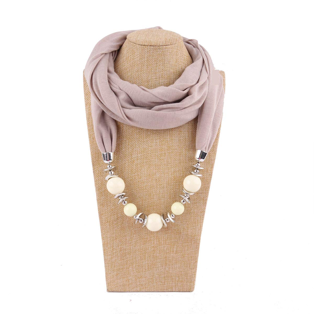 Fasbys Classic Style Chiffon Necklace Sash Scarf with Jewelry Pendant (Brown 8)