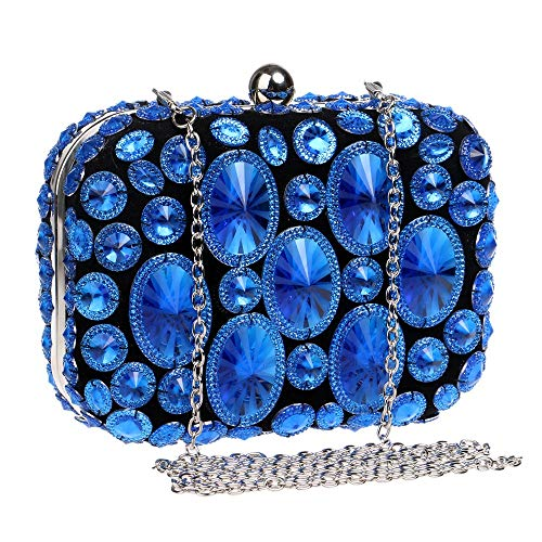 Party Party Purple Bag Bag Evening Prom Clutch Dinner Bridal Diamond Womens Dress Shiny Purse Blue Color Wedding Handbag Ladies' Clutch Bag a8Hx4Eq