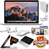 6Ave Apple 13.3 MacBook Pro with Touch Bar (Mid 2017, Silver) MPXX2LL/A + 7 Port USB Hub (White) + Apple AirPods Wireless Bluetooth Earphones Bundle